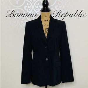 BANANA REPUBLIC BLACK 100% WOOL BLAZER SIZE 12